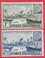 Afrique équatoriale Française N°90 1F Vert & 91 2F50 Bleu 1F+2F Brun & Rouge 1941 ** - A.E.F. (1936-1958)