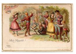 Chromo Liebig Bon Appétit Danse Espagnole Espagne Pays Gitan Camp Couple Musicien Menu Plan De Table Marque Place Invité - Liebig