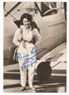 """CPSM Reine LACOUR """" Pompon"""" Voltige Aérienne - Aviatrice Monitrice Meetings De L'Air - Autographe Original - Airmen, Fliers"""