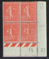 Semeuse 50 C. Rouge 199 En Bloc De 4 Coin Daté - VARIÉTÉ - 1903-60 Semeuse Lignée