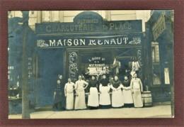 PARIS 20e - CARTE PHOTO - MAISON RENAUT - LOUIS BIDOT SUCCESSEUR - CHARCUTERIE DE LA PLACE - 77 AVENUE GAMBETTA -2 SCANS - Distretto: 20