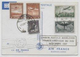 1937 - YT 321 Sur CARTE LAISON POSTALE ACCELEREE FRANCE - AMERIQUE DU SUD - PARIS à SANTIAGO Du CHILI Puis BUENOS AIRES - Airmail