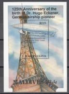 MALDIVES, 1993  Yvert Nº 499  MNH, Zeppelin, Vuelo De Santos-Dumont Alrededor De La Torre Eifel - Zeppelins