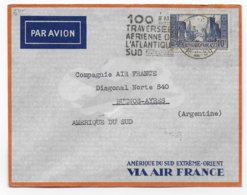 1936 - DAGUIN 100° TRAVERSEE AERIENNE ATLANTIQUE SUD / ENV. De MARSEILLE GARE AVION => BUENOS-AYRES (ARGENTINE) - MERMOZ - Airmail