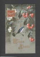 Themes Div-ref CC215- Carte Matiere Celluloid - Veritable Aquarelle - Bonne Année En Dorure - - Cartoline