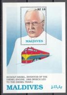 MALDIVES, 1989  Yvert Nº HB 162  MNH,  Pioneros Del Ferrocarril, Rudolf Diesel (1858-1913) - Eisenbahnen