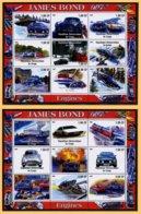 AUTOMOBILES JAMES BOND - FERRARI LOTUS ASTON MARTIN - 2 BLOCS FEUILLETS DE 9 VIGNETTES NEUVES ** - Voitures