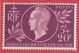 Afrique Occidentale Française N°1 5F+20F Lilas 1944 ** - Neufs
