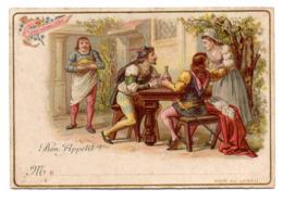 Chromo Liebig Bon Appétit A L'Auberge Aubergiste Client Repas Scène Couple Joie Menu Plan De Table Marque Place Invité - Liebig