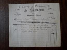 L24/25 Ancienne Facture. Paray Le Monial. A. Brelier. Machines à Coudre , Vêtements. 1889 - France