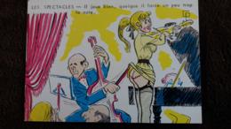 CPSM ILLUSTRATEUR SAINT GENIES LES SPECTACLES PIANO VIOLON IL FORCE UN PEU LA NOTE   FEMME SEXY SEINS NUS DESSIN - Illustratori & Fotografie