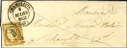 PC 722 / N° 1 (infime Froissure) Càd T 14 CHAMPLITTE (69) Sur Lettre Locale. Au Recto, B. RUR. B '' Leffaud ''. 1852. -  - 1849-1850 Cérès