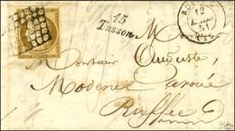 Grille Spéciale '' à Alvéoles '' / N° 1 Càd T 15 RUFFEC (15) Cursive 15 / Tusson Sur Lettre Locale. 1851. - SUP. - RR. - 1849-1850 Ceres