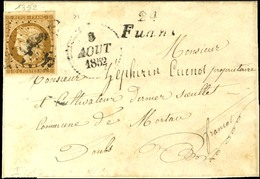 PC 1352 / N° 1 Infime Def Cursive 24 / Fuans Sur Lettre Avec Texte Daté Aux Plains De Fuans Le 4 Août 1852 Adressée Loca - 1849-1850 Cérès