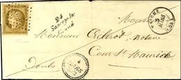 PC 2800 / N° 1 Bistre-brun Belles Marges Càd T 15 MAICHE (24) Cursive 24 Sancey-le / Grand Dateur B 1853 Sur Lettre Légè - 1849-1850 Cérès