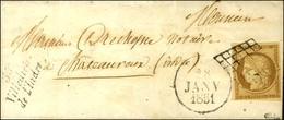 Grille / N° 1 Cursive 35 / Villedieu / De L'Indre Dateur A Sur Lettre Locale Pour Châteauroux. 1851. - TB / SUP. - R. - 1849-1850 Cérès