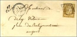 Grille / N° 1 Bdf Cursive 47 / Corne Sur Lettre Locale Pour Angers. 1851. - TB / SUP. - R. - 1849-1850 Ceres