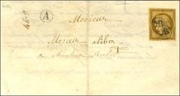OR (2 Frappes) / N° 1 Bistre Brun Sur Lettre Avec Texte Du Juge De Paix Du Canton Du Touvet. - TB. - R. - 1849-1850 Ceres