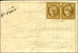 PC 2191 / N° 1 Paire Pd Cursive 24 / Mouthier / Hte Pierre Sur Devant De Lettre Avec Rabat Adressée Au Tarif De Militair - 1849-1850 Ceres