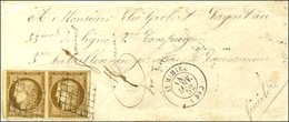 Grille / N° 1 Paire Belles Marges Càd T 15 ST MIHEL (53) 14 JANV. 52 Sur Lettre Au Tarif Réduit De Militaire Pour Concar - 1849-1850 Cérès