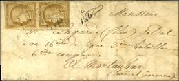 Grille / N° 1 Paire Cursive 6 / Vals Sur Lettre Au Tarif De Militaire Pour Montauban Avec Texte Daté Du 7 Juin 1861 (tar - 1849-1850 Cérès