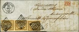 Grille / N° 1 Paire + 1 Ex., Très Belles Marges Càd T 15 BOUXWILLER (67) 23 DEC. 51 Sur Lettre Pour La Bavière. Exceptio - 1849-1850 Cérès