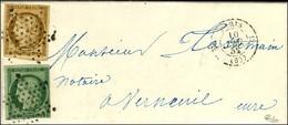 Etoile / N° 1 + 2 Vert Foncé Càd PARIS (60) Sur Lettre Avec Texte Adressée Au Tarif Territorial à Verneuil. 1852. - SUP. - 1849-1850 Ceres