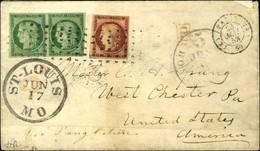 Rouleau De Gros Points / N° 2 Vert Foncé, Paire, 1 Ex Leg Def + N° 6 Froissure Càd (K) PARIS (K) Sur Lettre Pour Saint L - 1849-1850 Ceres