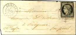 Càd T 15 GEMOZAC (16) 10 JANV. 49 / N° 3 (def) Sur Lettre Sans Texte Pour Pons. Au Verso, Càd D'arrivée 10 JANV. 49. - B - 1849-1850 Cérès