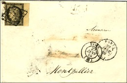 Grille / N° 3 Bdf Càd PARIS (60) 27 JANV. 49 Sur Lettre Avec Adresse Partiellement Biffée Pour Montpellier. - TB. - 1849-1850 Ceres