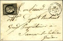 Càd T 15 CASTRES-GIRONDE 32 23 MARS 49 / N° 3 Sur Lettre Avec Texte Daté L'Ille St Georges Pour La Brède. Exceptionnelle - 1849-1850 Ceres