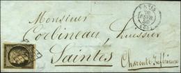 Grille / N° 3 Noir Sur Chamois Càd PARIS (60). 1850. - TB. - R. - 1849-1850 Ceres