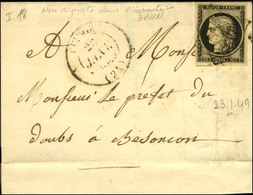 Grille / N° 3 Càd T 14 QUINGEY (24) 23 JANV. 1849. - B / TB. - 1849-1850 Cérès