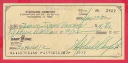 248047 / Bank One NA / Dallas TEXAS , AMERICA USA , Chèque Cheque Check Scheck - Cheques & Traverler's Cheques