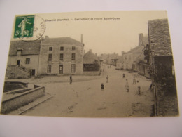C.P.A.- Chevillé (72) - Carrefour Et Route De St Saint Ouen - Café Deroin - 1916 - SUP (CQ 5) - Sonstige Gemeinden
