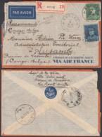 Belgique - Lettre COB 320 + 323 En Recommandé Par Avion De Knokke Vers Lusambo 11/02/37 (DD) DC3983 - 1931-1934 Képi