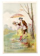 Chromo Maison Marcelin Jouzier Angoulême Scène Galante Romantique Marquis Marquise Couple Passage Gué Ombrelle Galant - Trade Cards