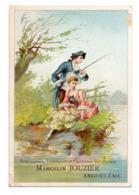 Chromo Maison Marcelin Jouzier Angoulême Scène Galante Romantique Marquis Marquise Couple Galant Partie De Pêche Canne - Trade Cards