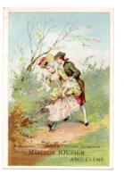 Chromo Maison Marcelin Jouzier Angoulême Scène Galante Romantique Marquis Marquise Couple Galant Cueillette Fleur Jardin - Trade Cards