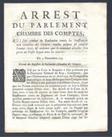 Arrest Du Parlement Chambre Des Comptes Du 3 DECEMBRE 1733 - Décrets & Lois