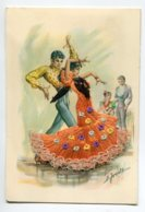 Carte BRODEE Tissée 620 ESPAGNE Andalousie Couple Danseurs Flamenco    Robe Tissu Véritable   Broderie  Dentelle - Bordados