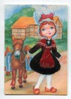 Carte BRODEE Tissée 628 En NORMANDIE No 6  Petite Paysanne Et Son Ane Porteur Lait  Robe   Broderie  Rose  Et Noir - Embroidered