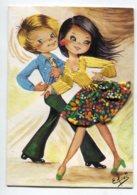 Carte BRODEE Tissée 636  Couple Danseurs De Rock ? Robe Véritable Tissu Corsage Jaune Broderie - Bordados