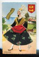 Carte BRODEE Tissée 651 NORMANDIE Ste Saint Catherine Jeune Femme En Sabots Robe Véritable Tissu Broderie Corsage - Ricamate