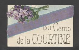 Themes Div-ref CC196-amities Du Camp De La Courtine -veritable Ruban Et Paillettes , Dorures Et Decoupi Fleurs Pensées - - La Courtine