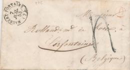 837/29 - Lettre Non Affranchie 1853 - MAUBERT-FONTAINE Vers CERFONTAINE Belgique - Entrée France Par DINANT - Port 4 D. - 1849-1876: Période Classique