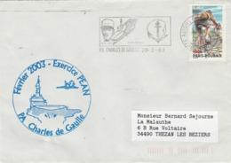 Exercice PEAN 2003 Porte Avions CHARLES DE GAULLE Cachet Flamme PA Charles De Gaulle 20/2/2003 - Storia Postale