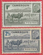Cameroun N°200 1F Vert & 201 Boeuf Zébu 2F50 Bleu 1941 ** - Camerun (1915-1959)