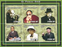 Mozambique 2002 - Nobel Prize (Dalai Lama; W.Churchill; A.Einstein; H.Yukawa; A.Schweitzer; L.Paulig) 6 V. - Mozambique