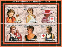 Mozambique 2002 - Lady Dina, Pope John Paull II, Red Cross 6v. Y&T 1948-1953, Scott 1589, Michell 2483-2488. - Mozambique